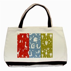 Deer Animals Swan Sheep Dog Whale Animals Flower Basic Tote Bag (Two Sides)