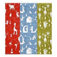 Deer Animals Swan Sheep Dog Whale Animals Flower Shower Curtain 66  x 72  (Large)