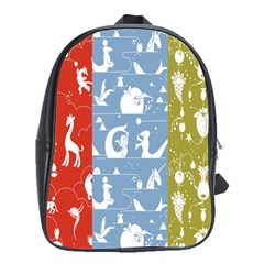 Deer Animals Swan Sheep Dog Whale Animals Flower School Bags(Large)
