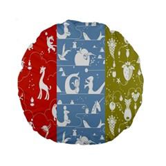 Deer Animals Swan Sheep Dog Whale Animals Flower Standard 15  Premium Round Cushions