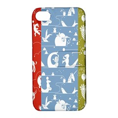 Deer Animals Swan Sheep Dog Whale Animals Flower Apple iPhone 4/4S Hardshell Case with Stand