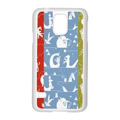 Deer Animals Swan Sheep Dog Whale Animals Flower Samsung Galaxy S5 Case (White)