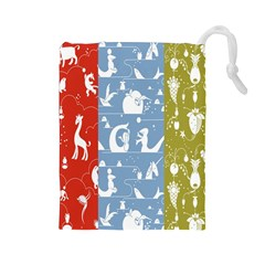 Deer Animals Swan Sheep Dog Whale Animals Flower Drawstring Pouches (Large)