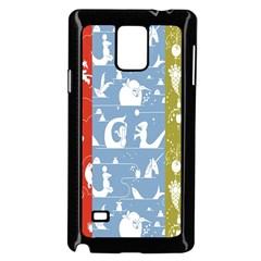 Deer Animals Swan Sheep Dog Whale Animals Flower Samsung Galaxy Note 4 Case (Black)
