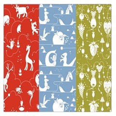 Deer Animals Swan Sheep Dog Whale Animals Flower Large Satin Scarf (Square)