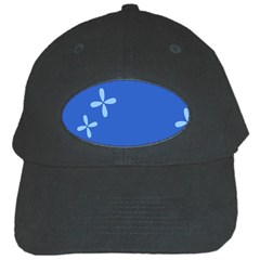 Flower Floral Blue Black Cap