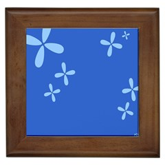 Flower Floral Blue Framed Tiles