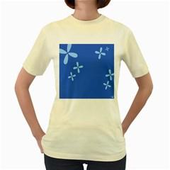 Flower Floral Blue Women s Yellow T-Shirt