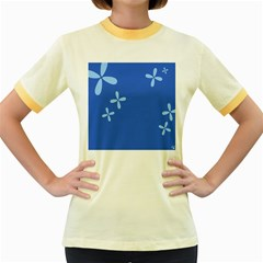 Flower Floral Blue Women s Fitted Ringer T-Shirts