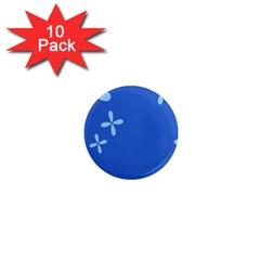 Flower Floral Blue 1  Mini Magnet (10 pack)