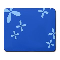 Flower Floral Blue Large Mousepads