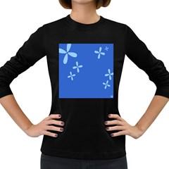 Flower Floral Blue Women s Long Sleeve Dark T-Shirts