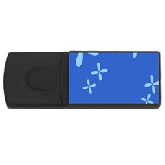 Flower Floral Blue USB Flash Drive Rectangular (4 GB)