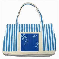 Flower Floral Blue Striped Blue Tote Bag