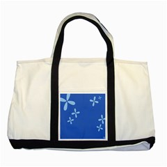 Flower Floral Blue Two Tone Tote Bag