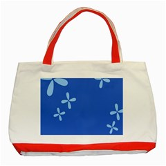 Flower Floral Blue Classic Tote Bag (red)
