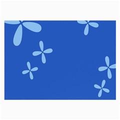 Flower Floral Blue Large Glasses Cloth