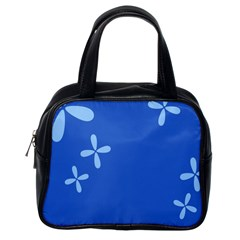 Flower Floral Blue Classic Handbags (One Side)