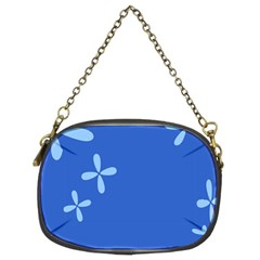 Flower Floral Blue Chain Purses (Two Sides)