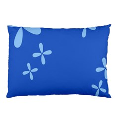 Flower Floral Blue Pillow Case (Two Sides)