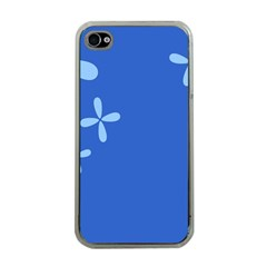 Flower Floral Blue Apple iPhone 4 Case (Clear)