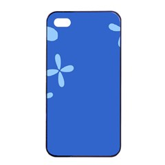 Flower Floral Blue Apple iPhone 4/4s Seamless Case (Black)