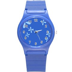 Flower Floral Blue Round Plastic Sport Watch (S)