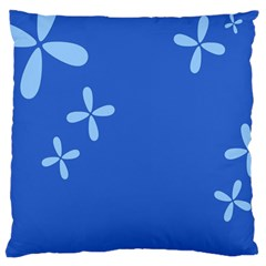 Flower Floral Blue Large Cushion Case (One Side)