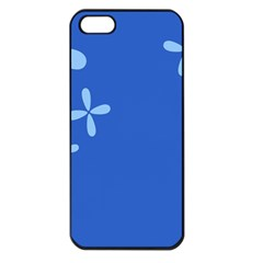 Flower Floral Blue Apple iPhone 5 Seamless Case (Black)