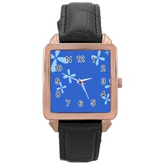 Flower Floral Blue Rose Gold Leather Watch