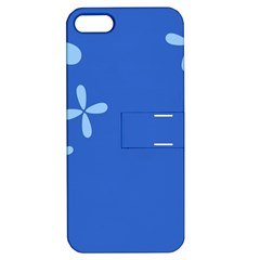 Flower Floral Blue Apple iPhone 5 Hardshell Case with Stand