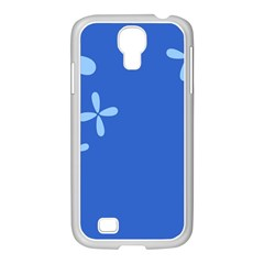 Flower Floral Blue Samsung GALAXY S4 I9500/ I9505 Case (White)