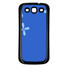 Flower Floral Blue Samsung Galaxy S3 Back Case (Black)