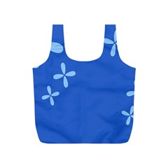 Flower Floral Blue Full Print Recycle Bags (S)
