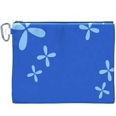 Flower Floral Blue Canvas Cosmetic Bag (XXXL)
