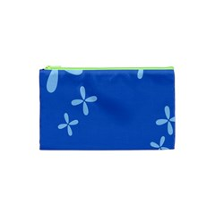 Flower Floral Blue Cosmetic Bag (XS)