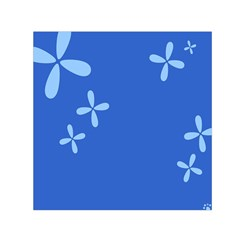Flower Floral Blue Small Satin Scarf (Square)