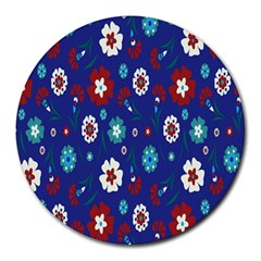 Flower Floral Flowering Leaf Blue Red Green Round Mousepads