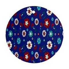 Flower Floral Flowering Leaf Blue Red Green Ornament (Round)
