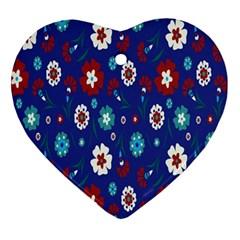 Flower Floral Flowering Leaf Blue Red Green Ornament (Heart)