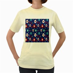 Flower Floral Flowering Leaf Blue Red Green Women s Yellow T-Shirt