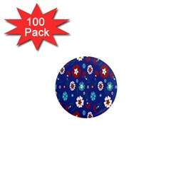 Flower Floral Flowering Leaf Blue Red Green 1  Mini Magnets (100 pack)