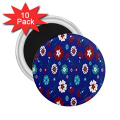Flower Floral Flowering Leaf Blue Red Green 2.25  Magnets (10 pack)