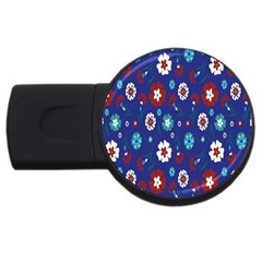 Flower Floral Flowering Leaf Blue Red Green USB Flash Drive Round (2 GB)