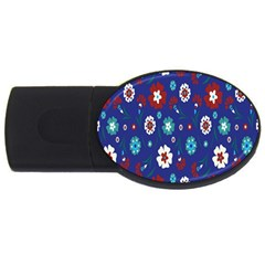Flower Floral Flowering Leaf Blue Red Green USB Flash Drive Oval (1 GB)
