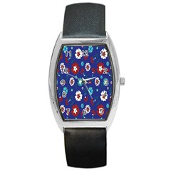 Flower Floral Flowering Leaf Blue Red Green Barrel Style Metal Watch