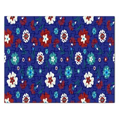 Flower Floral Flowering Leaf Blue Red Green Rectangular Jigsaw Puzzl