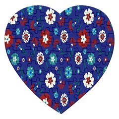 Flower Floral Flowering Leaf Blue Red Green Jigsaw Puzzle (Heart)