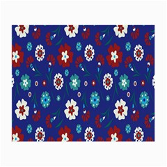 Flower Floral Flowering Leaf Blue Red Green Small Glasses Cloth