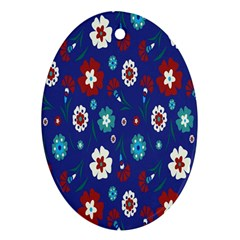 Flower Floral Flowering Leaf Blue Red Green Oval Ornament (Two Sides)